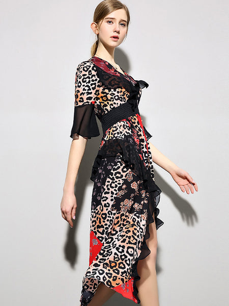 Fashion Leopard V-Neck  Split Puff Sleeve Slim Maxi Dress