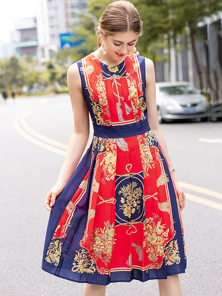 Vintage Sleeveless Slim Printing Pleated A-Line Dress