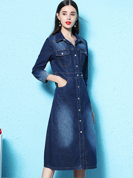 Popular 3/4 Sleeve Turn Down Collar Single-breasted Shirt Dress