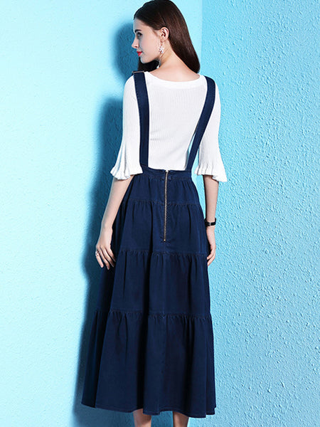 Simple Slim Pure Color 3/4 Sleeve Denim Skater Long Slip Dress