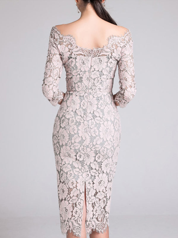 Elegant One Shoulder Lace 34 Sleeve Sexy Bodycon Dress