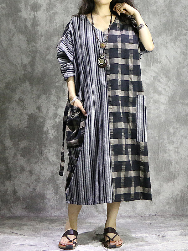 Vintage Color Block V-Neck Long Sleeve Big Hem Oversize Maxi Dress