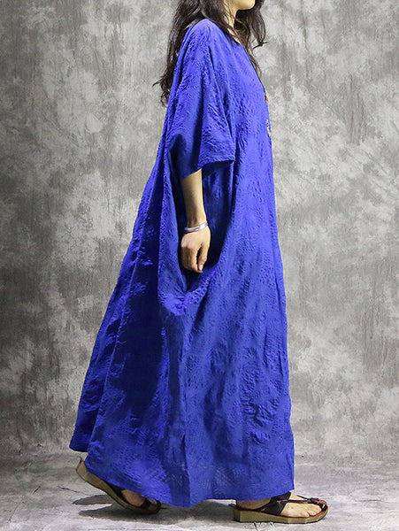 Design Pure Color Jacquard Cotton Bat Sleeve Straight Long Dress