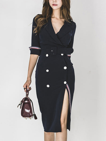 Chic Double-breasted Split Half Sleeve V-Neck Bodycon Dress
