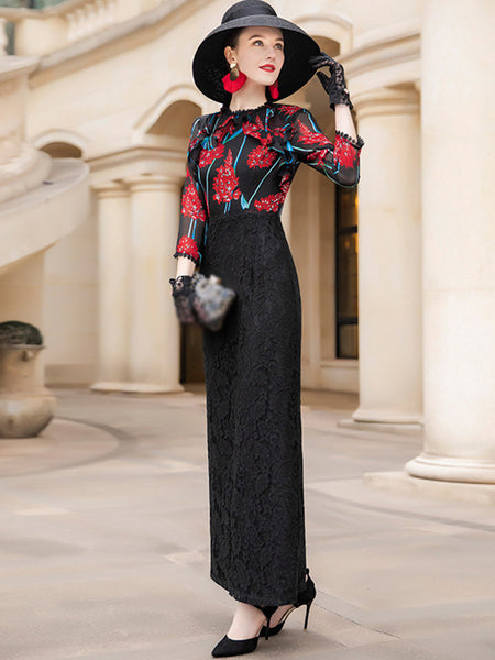 Elegant Lace Stitching Slit 3/4 Sleeve O-Neck Sheath Maxi Dress