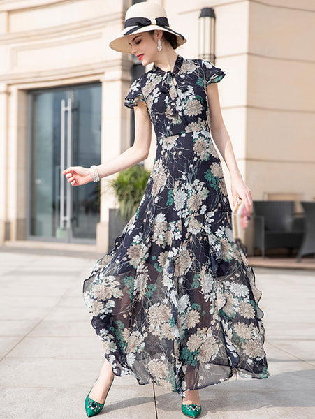 Vintage Falbala V-Neck Print Short Sleeve Bodycon Maxi Dress