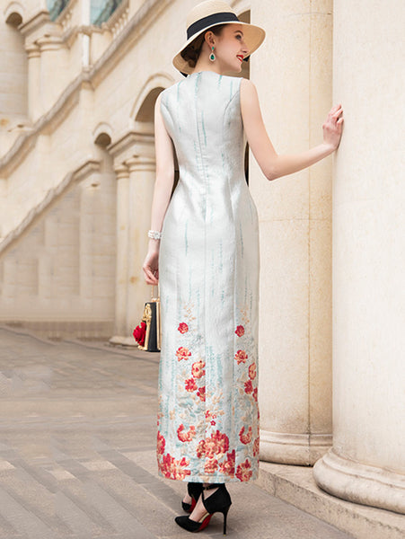 Summer Jacquard V-Neck Sleeveless Prey Sheath Long Dress