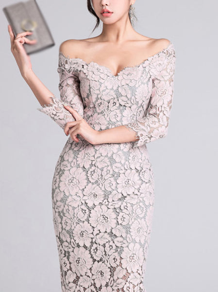 Elegant One Shoulder Lace 3/4 Sleeve Sexy Bodycon Dress