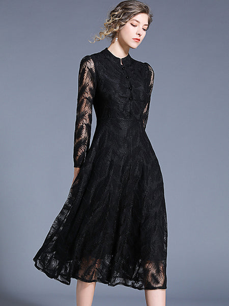 Chic Hollow Out Lace Pure Color Stand Collar A-line Maxi Dress