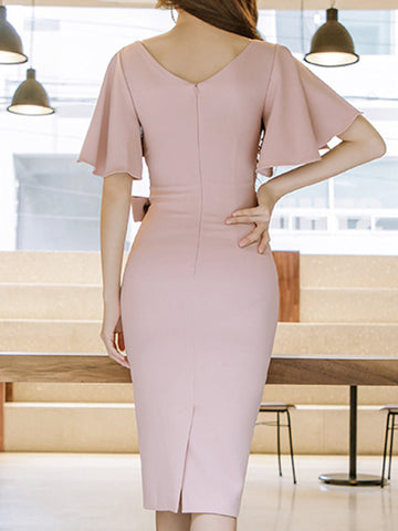 Suave Bowknot Lacing Slit Flare Sleeve Bodycon Dress