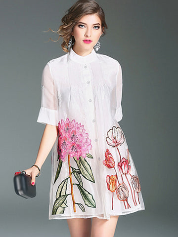 Suave Organza Embroidery Loose A-Line Dress