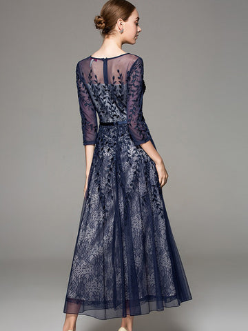 Suave Lace Mesh Embroidery Perspective Maxi Dress