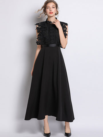 Chic Hollow Out Lace Sashes Patchwork Maxi Dress