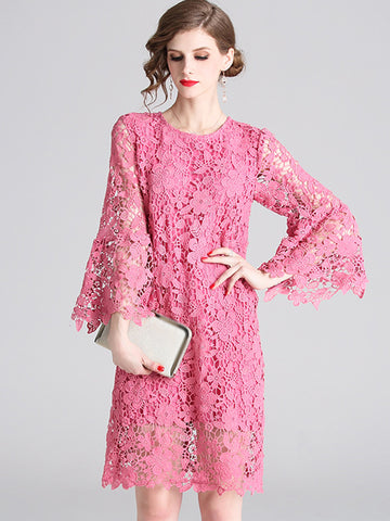Sweet Hollow Out Flare Sleeve Lace A-Line Dress