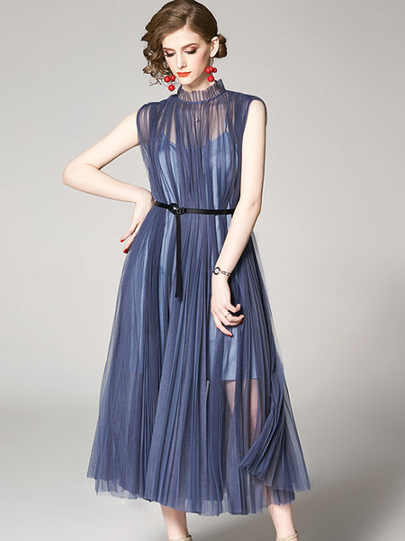 Suave Mesh Sashes Pleat Stand Collar A-Line Dress