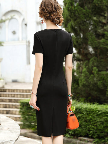 Vintage Decoration Slim Pure Color Bodycon Dress