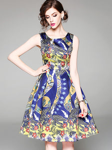 Cute Geometric Multicolor Print Bubble Skater Dress