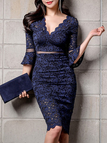 Sexy V-Neck Lace High Waist Bodycon Dress