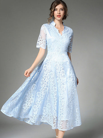 Suave Hollow Out Pure Color Lace A-Line DressDue to the light and display,the product may be a slight color difference,please in kind prevail.)
