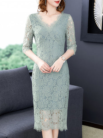 Elegant Lace Hollow Out Stitching Sheath Dress