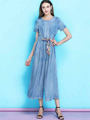 Street Sashes Gathered Waist Slim Denim Jumpsuits