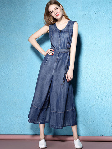 Sweet Pocket Sillk Sleeveless Wide Leg Jumpsuits