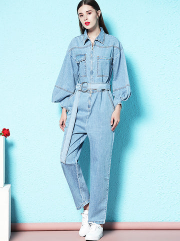 Denim Puff Sleeve Turn-Down Collar Straight Jumpsuits