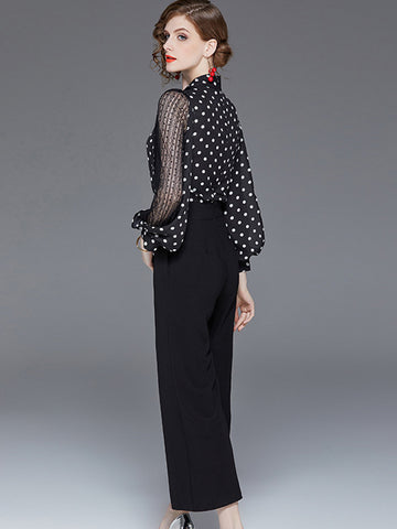 Polka Dot Lace Stitching Perspective Flared Jumpsuits(Without Belt)