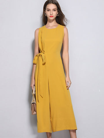 Yellow Sashes Pocket High Waist Wide Leg Jumpsuits