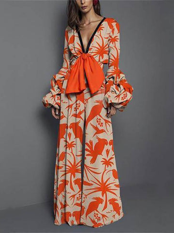 Sexy Puff Sleeve Orange Bowknot Straight Jumpsuits