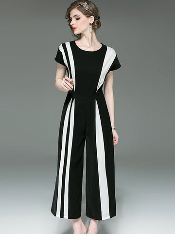 Simple Color-Block High Waist Straight Jumpsuits
