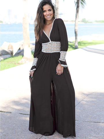 Backless Hollow Out Lacing Wide Leg Jumpsuits