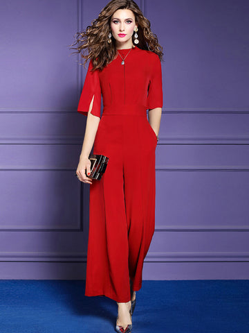 Brief Slit Red Pocket O-Neck Straight Jumpsuits