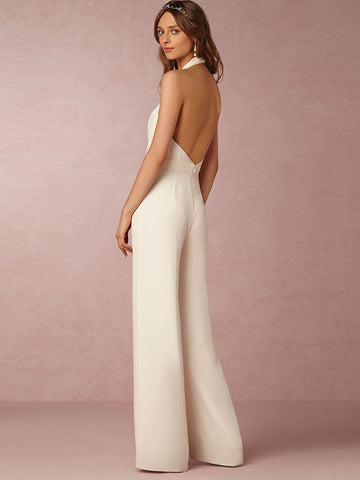 Sexy Deep V-Neck Halter Backless Ruffled Straight Jumpsuits