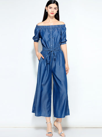 Denim Elastic Waist Boat Neck Wide Leg Jumpsuits