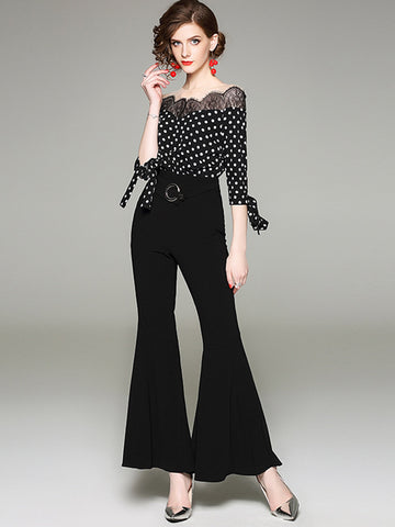 Perspective Polka Dot 3/4 Sleeve Mesh Flared Jumpsuits