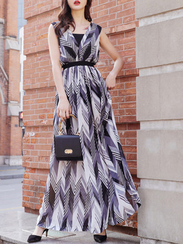 Elegant Print Gathered Waist Wide Leg Jumpsuits
