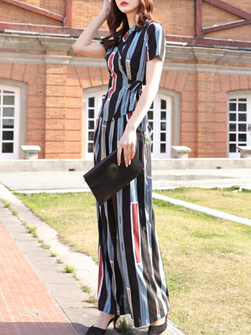 Street Lapel Collar Gathered Waist Wide Leg Jumpsuits