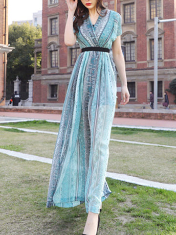 Green Falbala Chiffon High Waist Wide Leg Jumpsuits