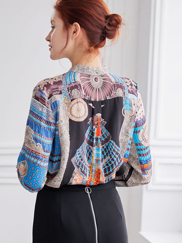 Vintage Stand Collar Loose Print Silk Button Blouses