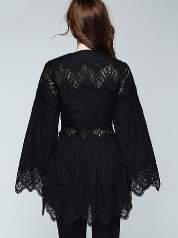 Sexy Flare Sleeve Hollow Out Lace Deep V-Neck Blouses