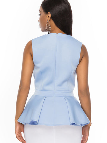 Falbala Sleeveless Ruffled Gathered Waist Sexy Blouses