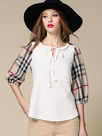 British Stitching Plaid Bowknot Slim Blouses