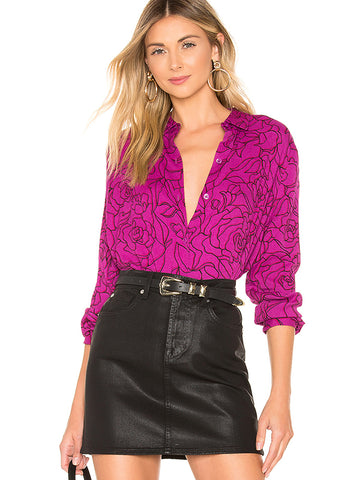 Single Breasted Turn-Down Collar Print Street Blouses