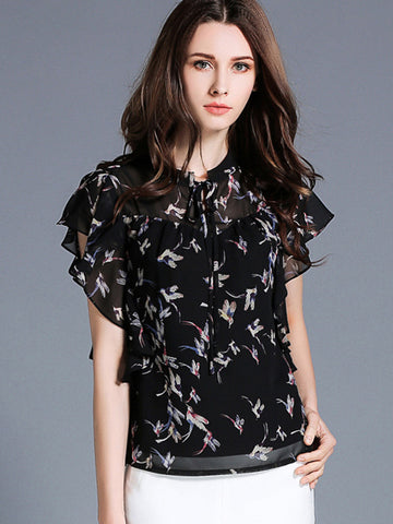 Holiday Falbala Chiffon Print Lacing Blouses