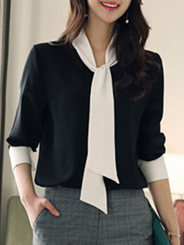 Simple Tie-Neck Color-Block Black Blouses