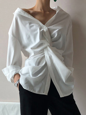 Irregular Shirt Collar Cotton Loose Chic Blouses