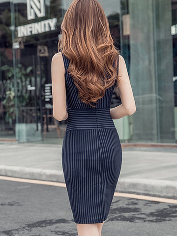 Work Stripe Lapel Collar Sleeveless Knit Sheath Dress