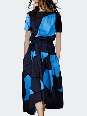 Patchwork Hit-Color Asymmetric Lacing Stylish Skater Dress