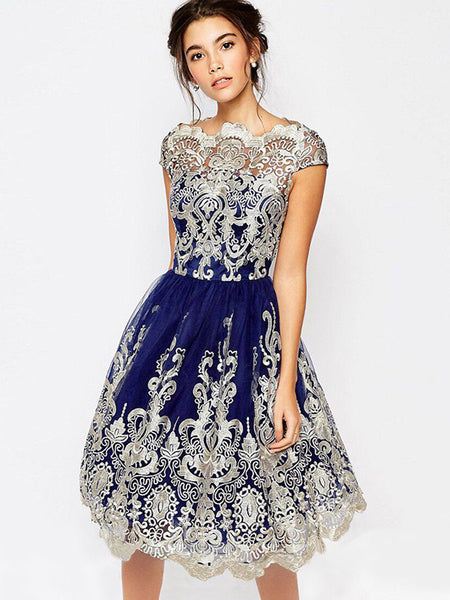 Mesh Lace Embroidery Asymmetric Party Skater Dress